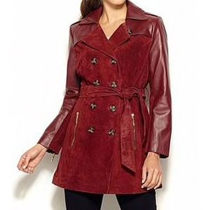 [Iman] Zinfandel Red Leather & Suede Trench - 3X